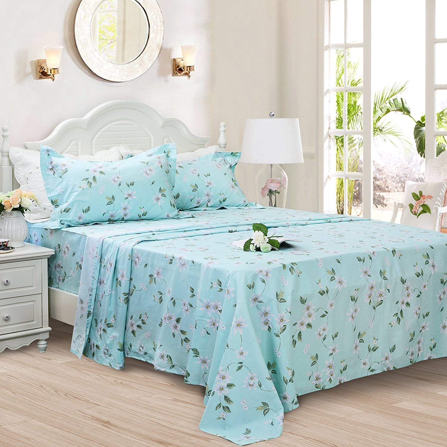 Green White Floral Twin XL FADFAY Cotton Bed Sheet Set bluee Hydrangea Floral Bed Sheets 4Piece King Size