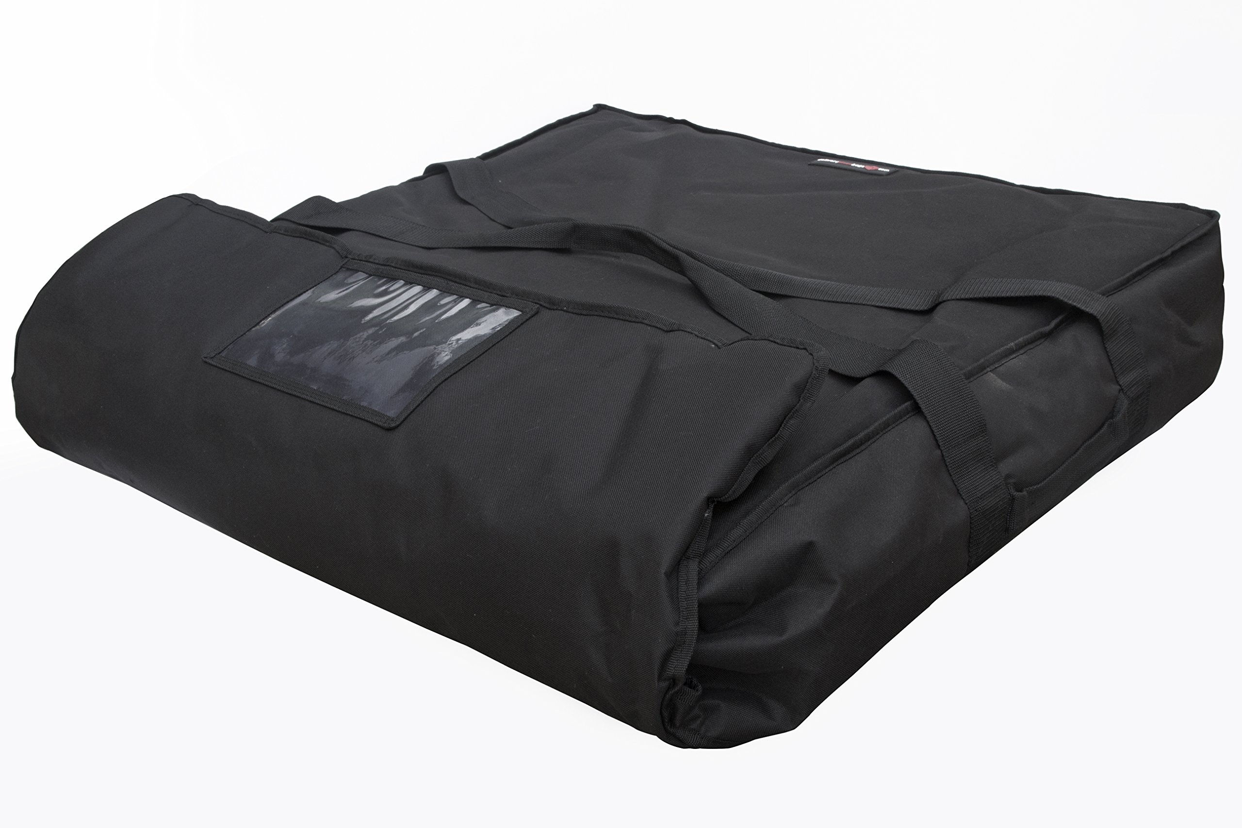 Black Polyester Insulated Pizza / Food Delivery Bag 28'' Oversize (XX Large) Professional Pizza Delivery Bag- Moisture Free- Holds Multi Pizza Boxes.
