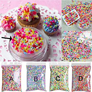Kangkang@ 100g DIY Polymer Clay Colorful Fake Candy Sweets Sugar Sprinkles Decorations for Fake Cake Dessert Simulation Food Dollhouse Style (D)