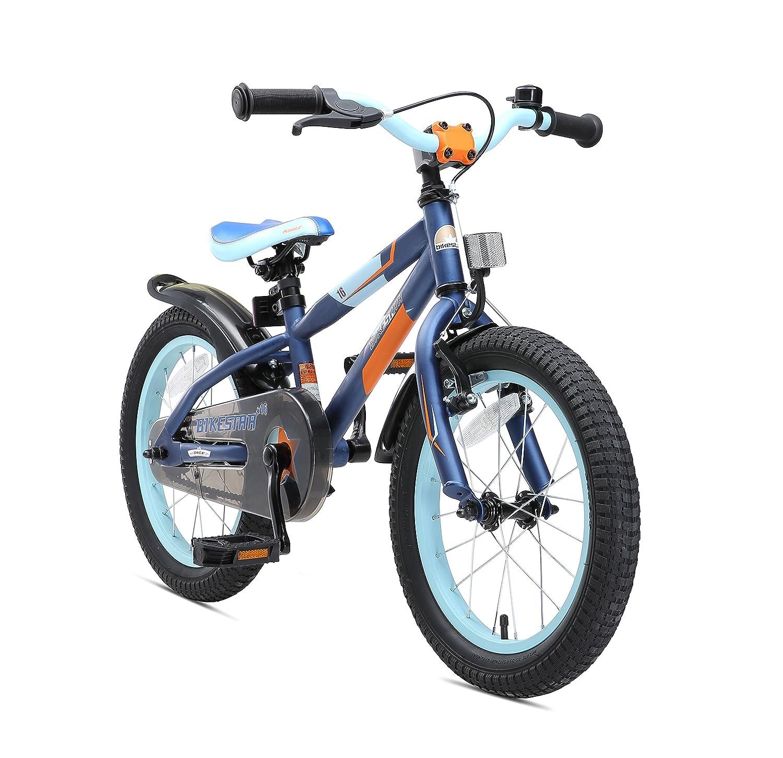 BIKESTAR Bicicleta infantil para niños y niñas bicicleta de montaña | Bici 16 pulgadas | Color Azul | Frenos de tiro lateral y freno de contrapedal | A partir de 4 años | 16 Edición Mountainbike 2018 Star-Trademarks