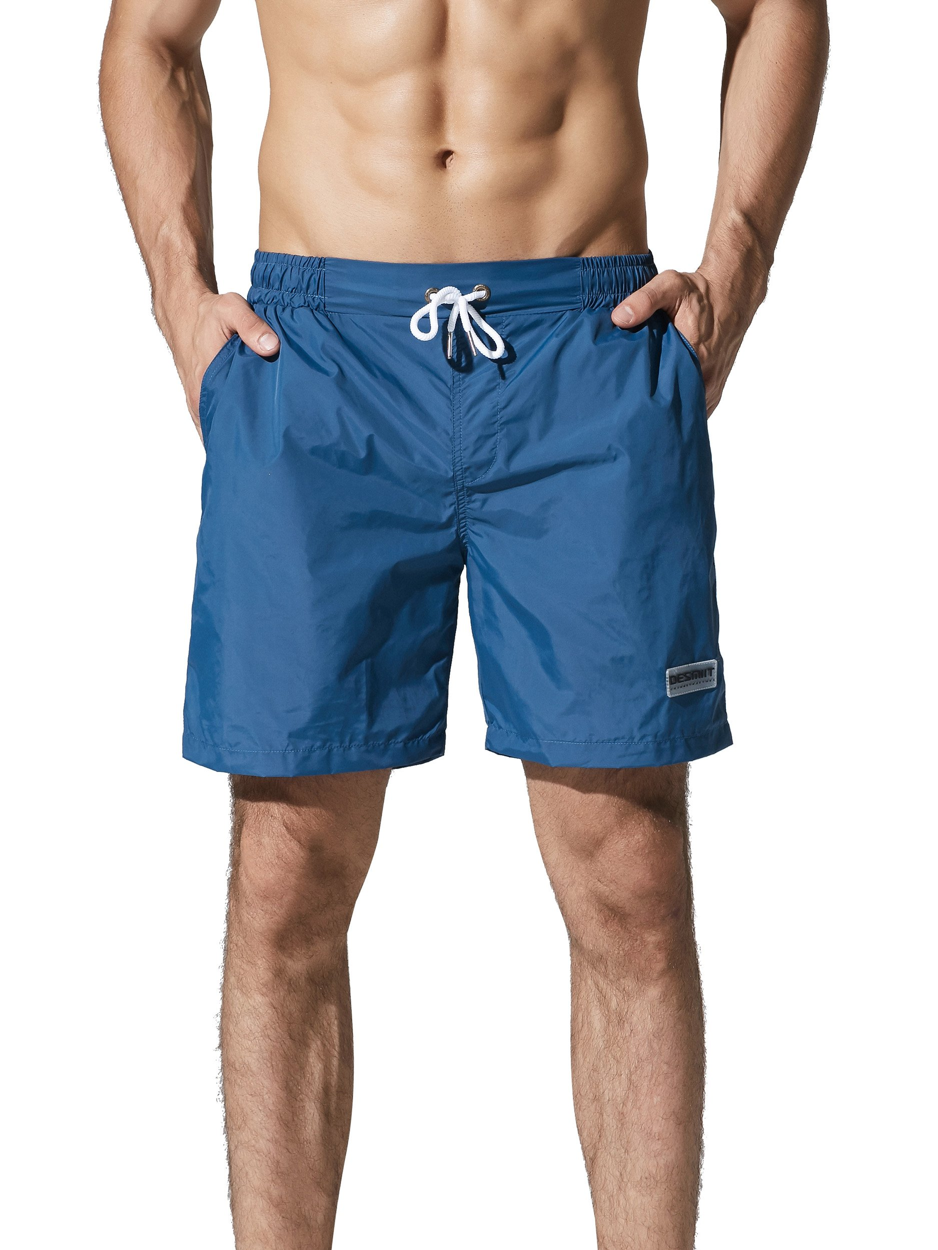 Neleus Men's 7'' Quick Dry Workout Running Short with Pockets,807,Navy Blue,M,Tag XL