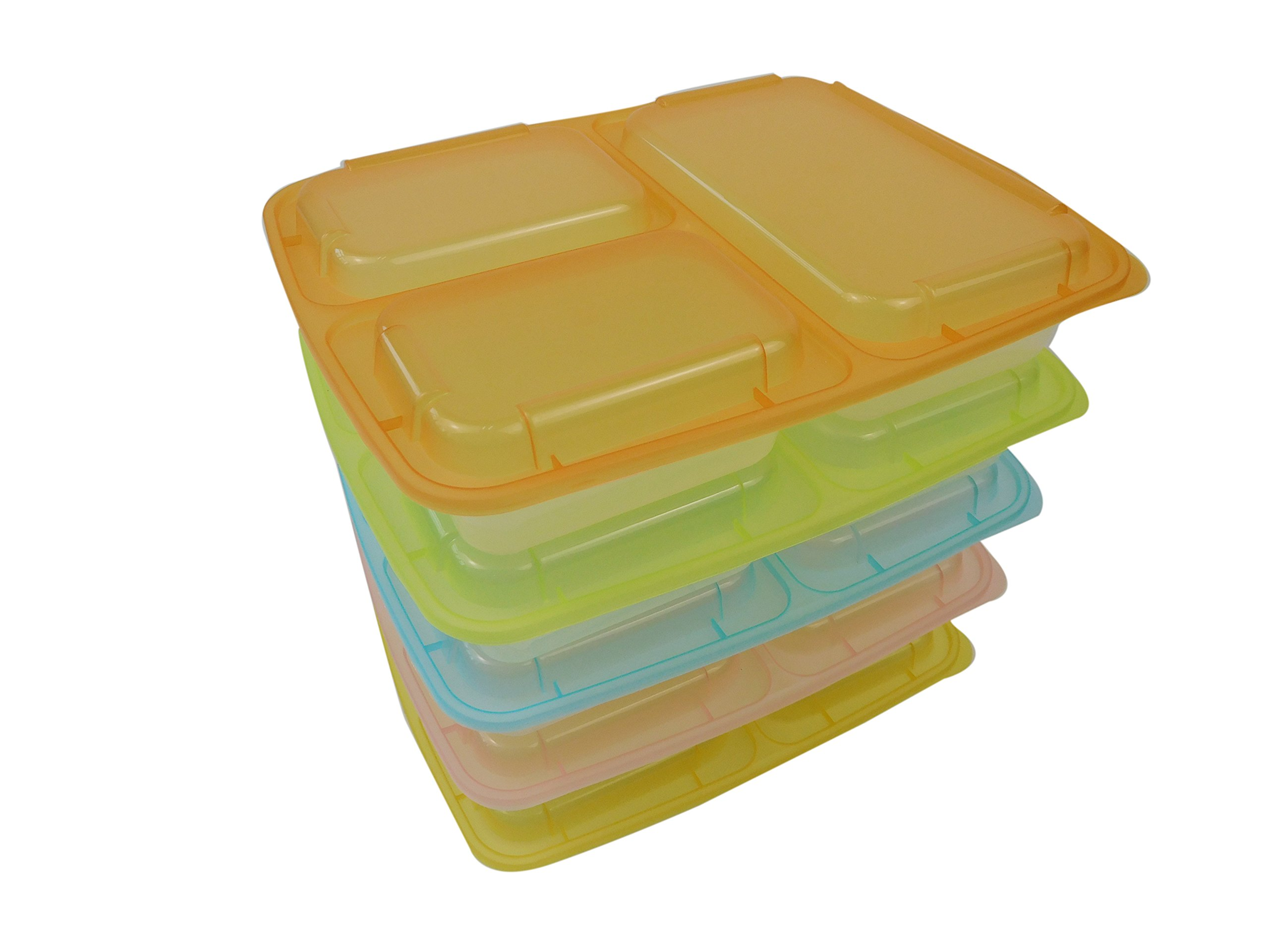 Table To Go 240-Pack Bento Lunch Boxes with Lids (3 Compartment/ 36 oz) (Multicolor Lids) by Table To Go