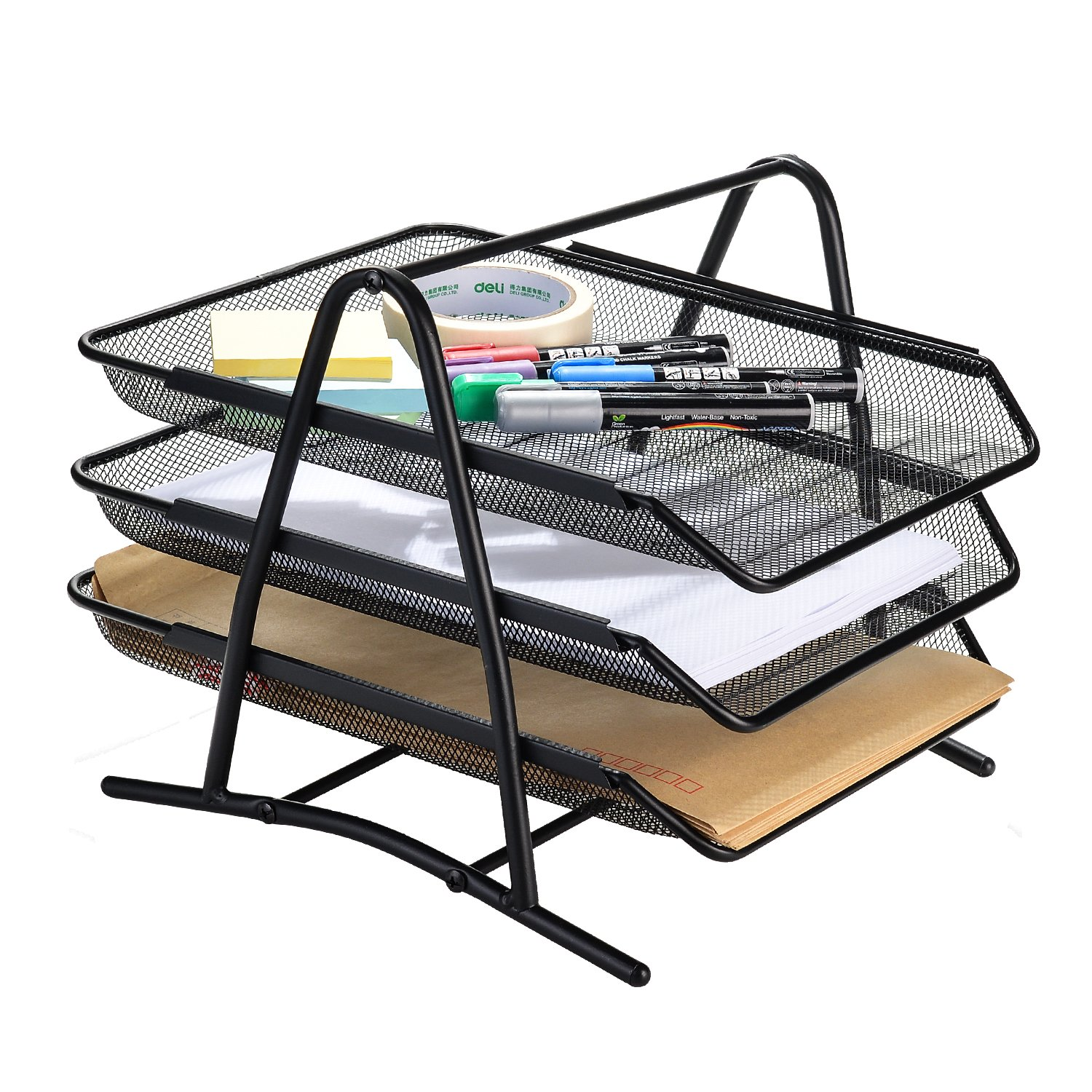 AGPtek Oval Desk Organizer,Metal Mesh Supply Caddy, 9 Space Saving Writing Supplies with Large Drawer for School, Study & Work Use - Black