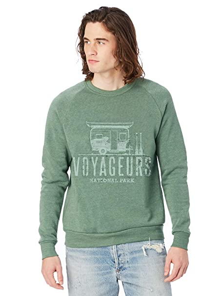 180ba1454f0a Alternative Apparel Men s Voyageurs National Park Champ Eco-Fleece Pullover  Sweatshirt at Amazon Men s Clothing store
