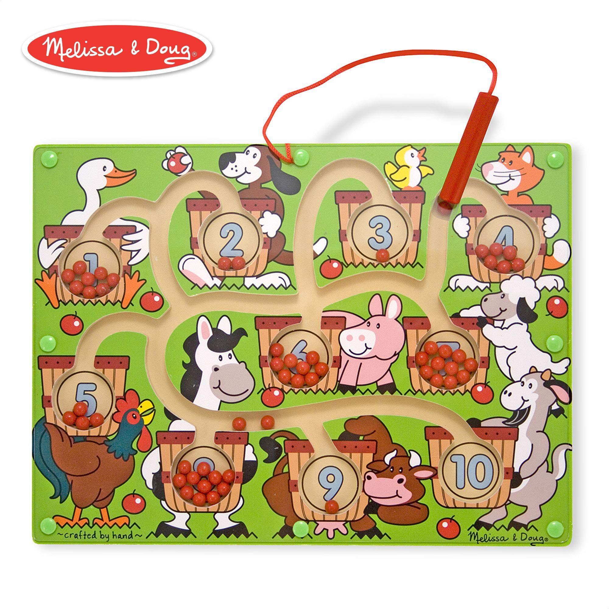 Melissa & Doug Magnetic Wand Number Maze (Developmental Toys, Wooden Activity Board, Develops Multiple Skills) by Melissa & Doug