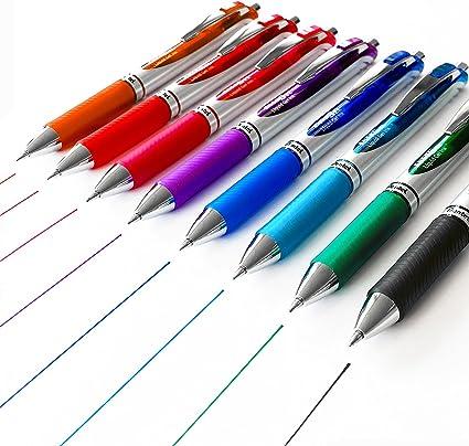 Pentel EnerGel BL77 – XM retráctil Liquid bolígrafos de tinta de gel – 0,7 mm – Pack de 8 Mixed Pens (negro, verde, azul claro, azul, morado, rosa, rojo, naranja): Amazon.es: Oficina y papelería