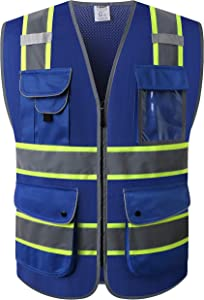 JKSafety 9 Pockets High Visibility Zipper Front MESH Blue Safety Vest | Blue with Dual Tone High Reflective Strips | ANSI/ISEA Standards (Mesh-Blue, Medium)