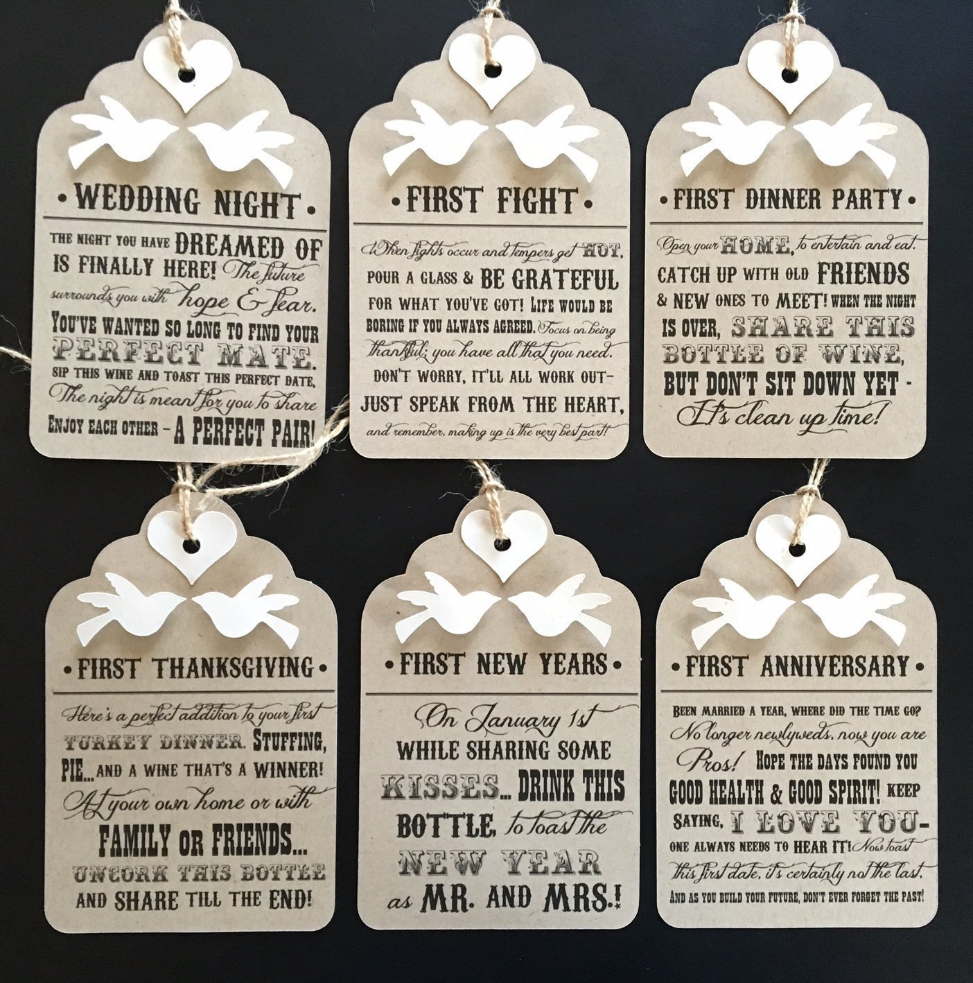 Amazon Bridal Shower Wine Tags Basket of Firsts Set of 6