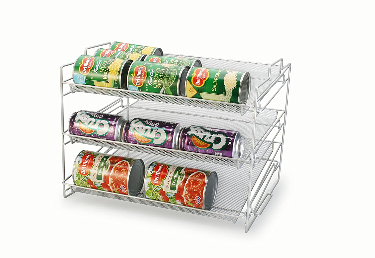 Artestia 3-layer Mesh Steel Stackable Can Rack Organizer, Silver AR-81122