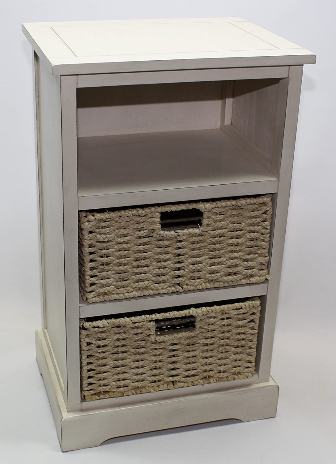Home Source White Tall Wooden Shabby Chic Wicker Cabinet Storage Side Table 2 Drawer Bedside PB51 2 Drawer Unit