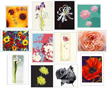 12 Blank Floral Print Greeting Birthday Cards Amazonca Office Products