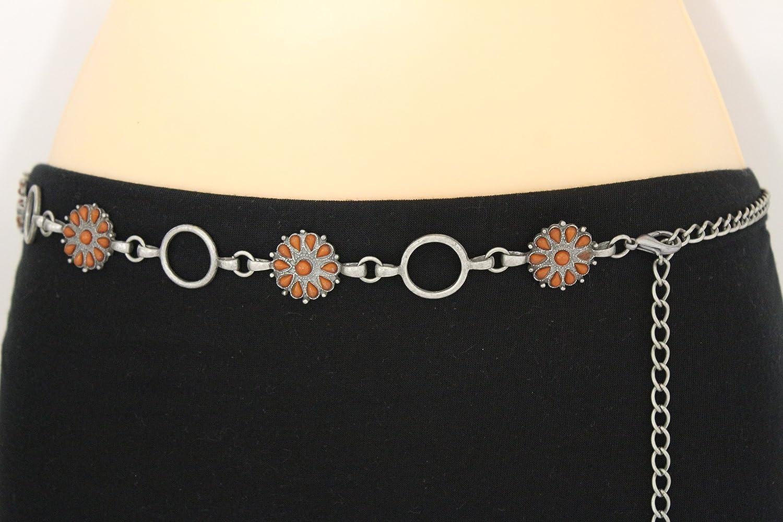 TFJ Women Fashion Metal Belt Hip High Waist Chain Flower Charms S M L Antique Silver