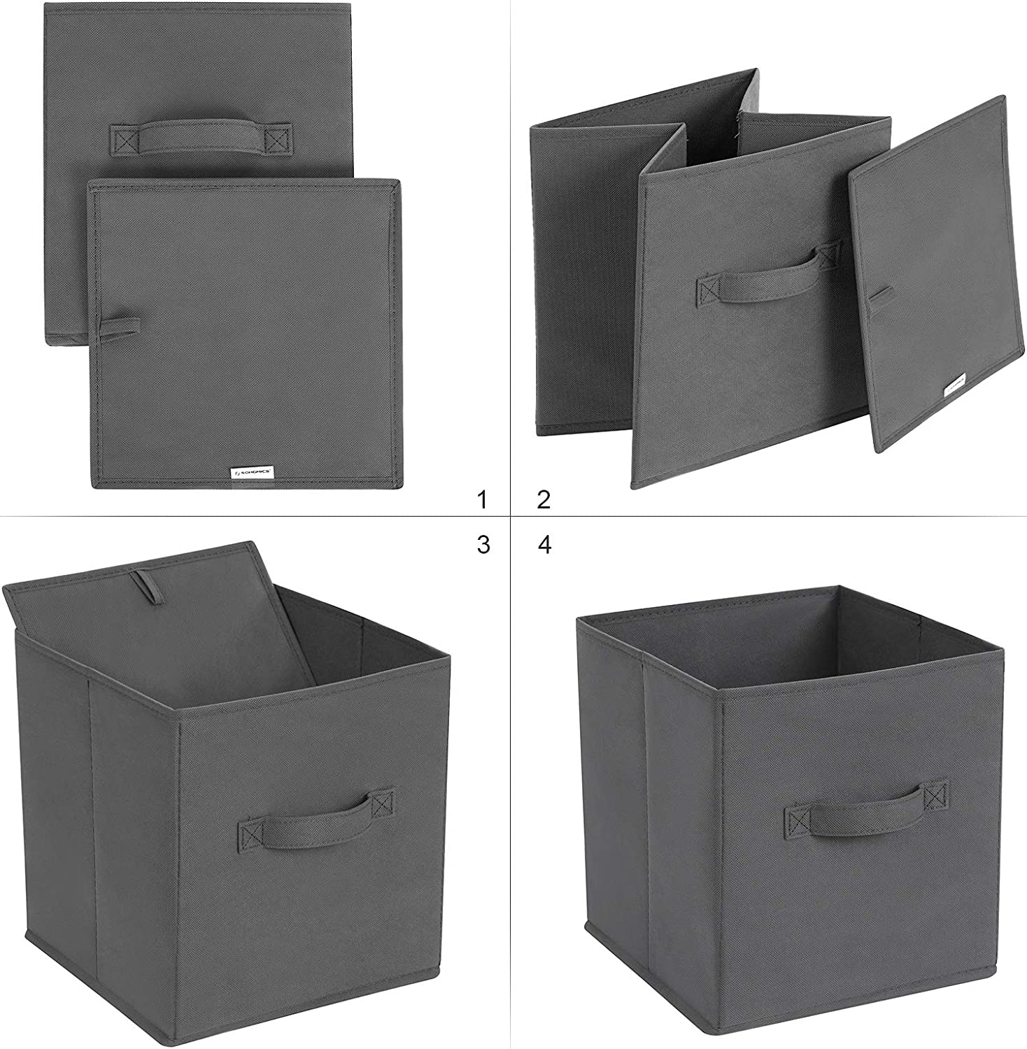 Non-Woven Fabric Storage Cubes Foldable Toy Clothes Organizer Bins 3 Black 3 Beige UROB26HM SONGMICS Set of 6 Storage Boxes