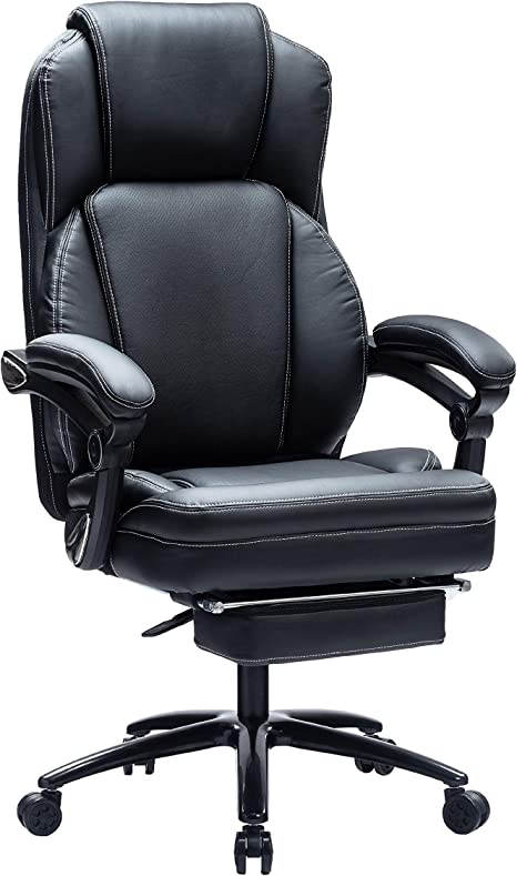 Kasorix Executive Home Office Chair with Footrest,Desk Chairs with Wheels and Arms,Ergonomic Adjustable Bonded PU Leather Rolling Chair Black-9095