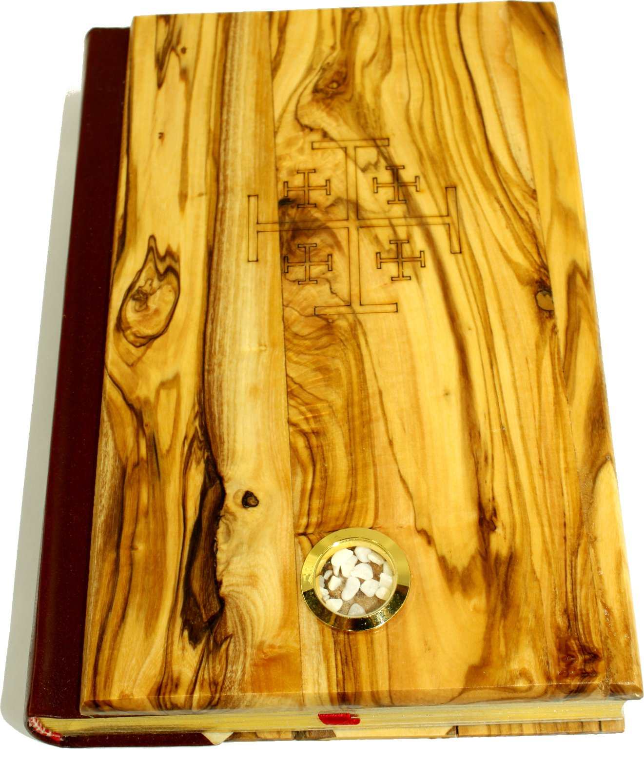 Olive Wood covered Millennium Bible with 'Jerusalem Stones' ~ Red-letter King James Version of the Old and the New Testament (Large - 8 x 5.5 Inches)
