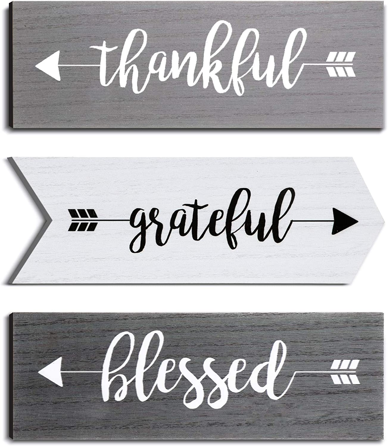 Jetec 3 Pieces Hanging Wall Signs Thankful Grateful Blessed Wooden Signs Rustic Wall Art Decor Welcome Plaque Sign for Farmhouse Outdoor Decor
