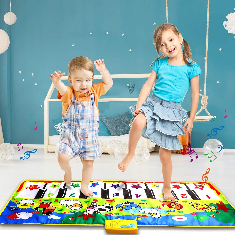 M SANMERSEN Piano Music Mat, Music Dance Mat, Keyboard Play Mat, Animal Blanket Carpet Playmat, Musical Touch Play Game Gifts for Kids Toddlers Girls Boys, 53'' x 23'' by M SANMERSEN (Image #2)