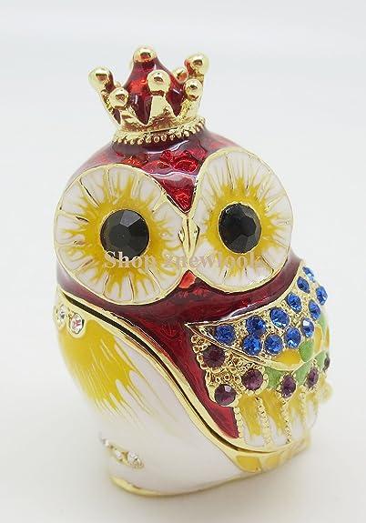 Búho Pájaro cristales joyas joyería Jeweled Joyero anillo caja de regalo con caja con forma de corona de búho bebé caja Bejeweled: Amazon.es: Joyería