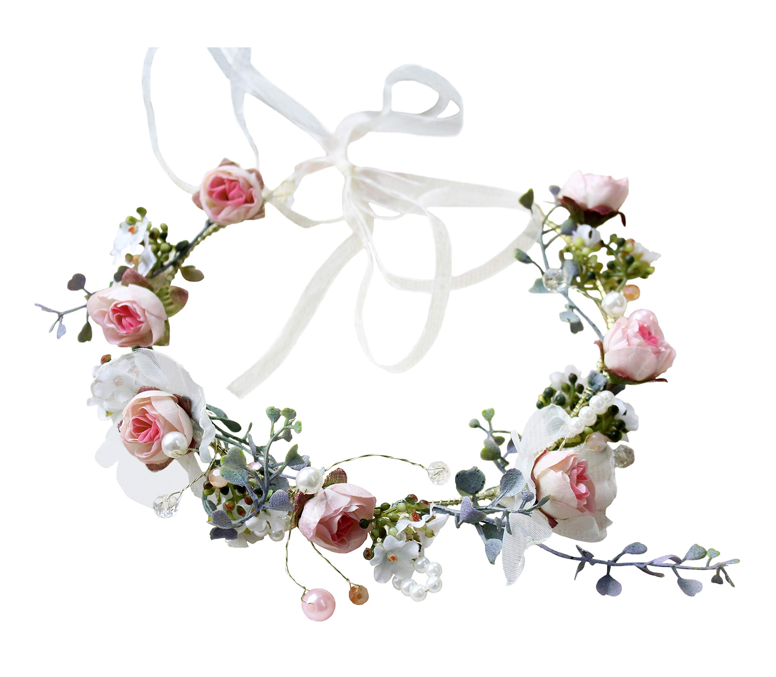 Pearl Flower Crown Floral Garland Headband Flower Halo Headpiece Hair Wreath Boho with Ribbon Wedding Party Festival Photos Pink by Vivivalue by Vivivalue