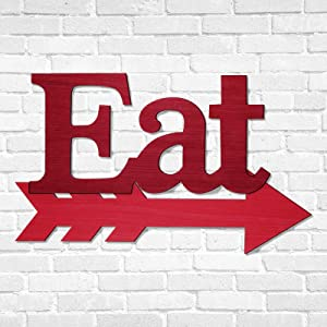 Eat Sign Kitchen Wall Decor Farmhouse Kitchen Wall Plaque with Arrow Sign Rustic Wood Eat Letters Red Eat Sign with Hanging Hole for Home Kitchen Living Room