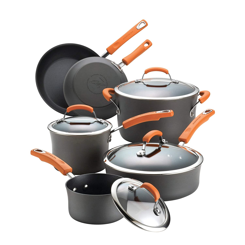 Rachael Ray Hard-Anodized Nonstick 10-Piece Cookware Set, Gray with Orange Handles (Renewed)