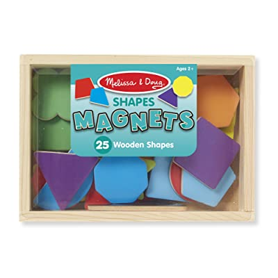 Melissa & Doug 25 Wooden Shape and Color Magnets in a Box: Melissa & Doug: Toys & Games