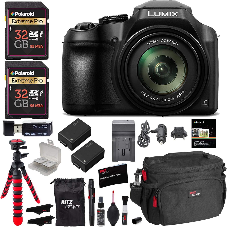 Panasonic Lumix DC-FZ80 Digital Camera, 32GB SDHC Memory Card, 2 Spare Batteries, DSLR Camera Bag, Ritz Gear Cleaning Kit, Tripod and Accessory Bundle