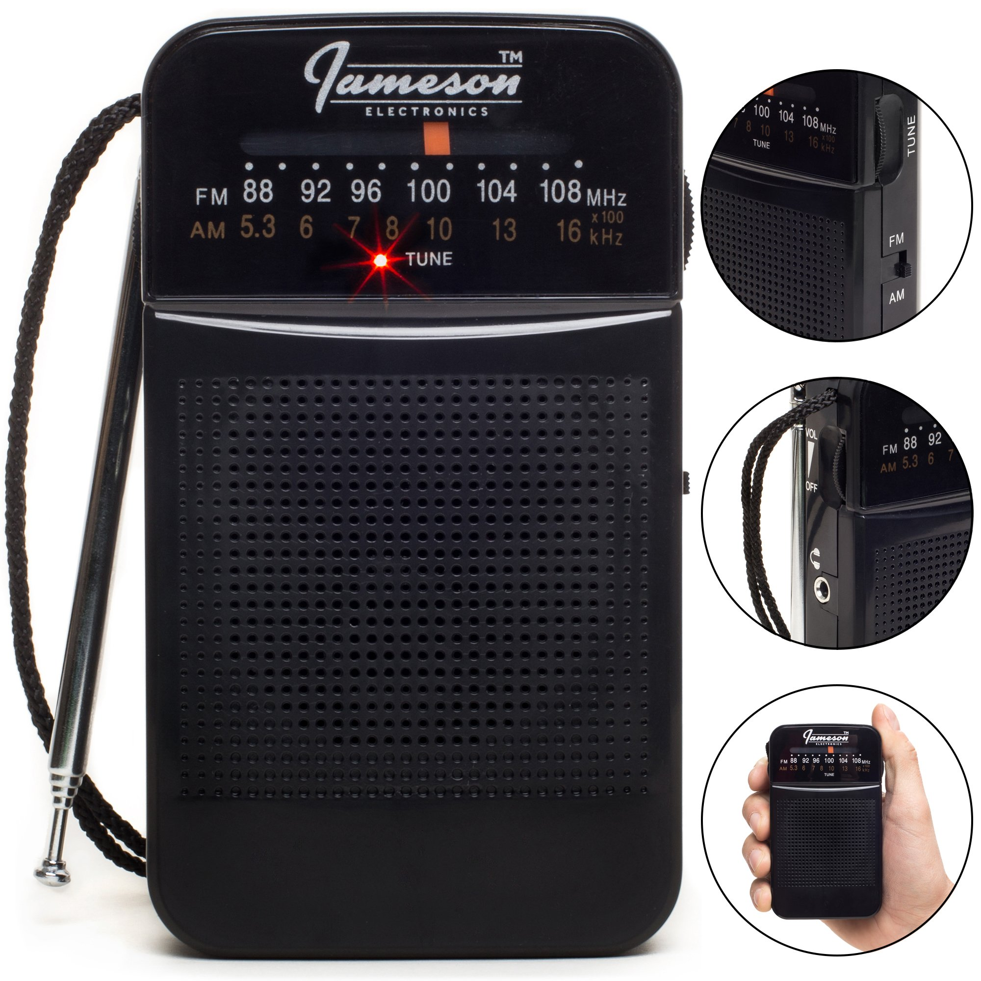 AM // FM Portable Pocket Radio with Best Reception - Small Battery Operated Personal Transistor, Built-in Speaker, 3.5mm Headphone Jack, Easy Tuning, Antenna - Powered by AA Batteries (Black) by Jameson Electronics