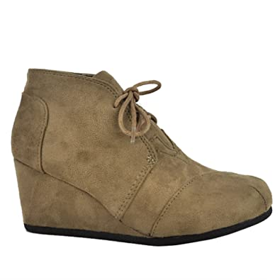03847e011943 SNJ Women High Top Sneakers Wedge Heel Lace up Bootie Trends Shoes