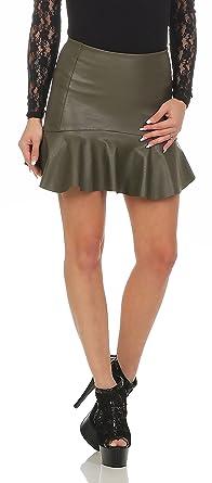 Fashion4Young 11044 Damen Rock Minirock Rock Lederimitat Skirt Volantrock  Damenrock (S 36, Oliv 2ff125d18c