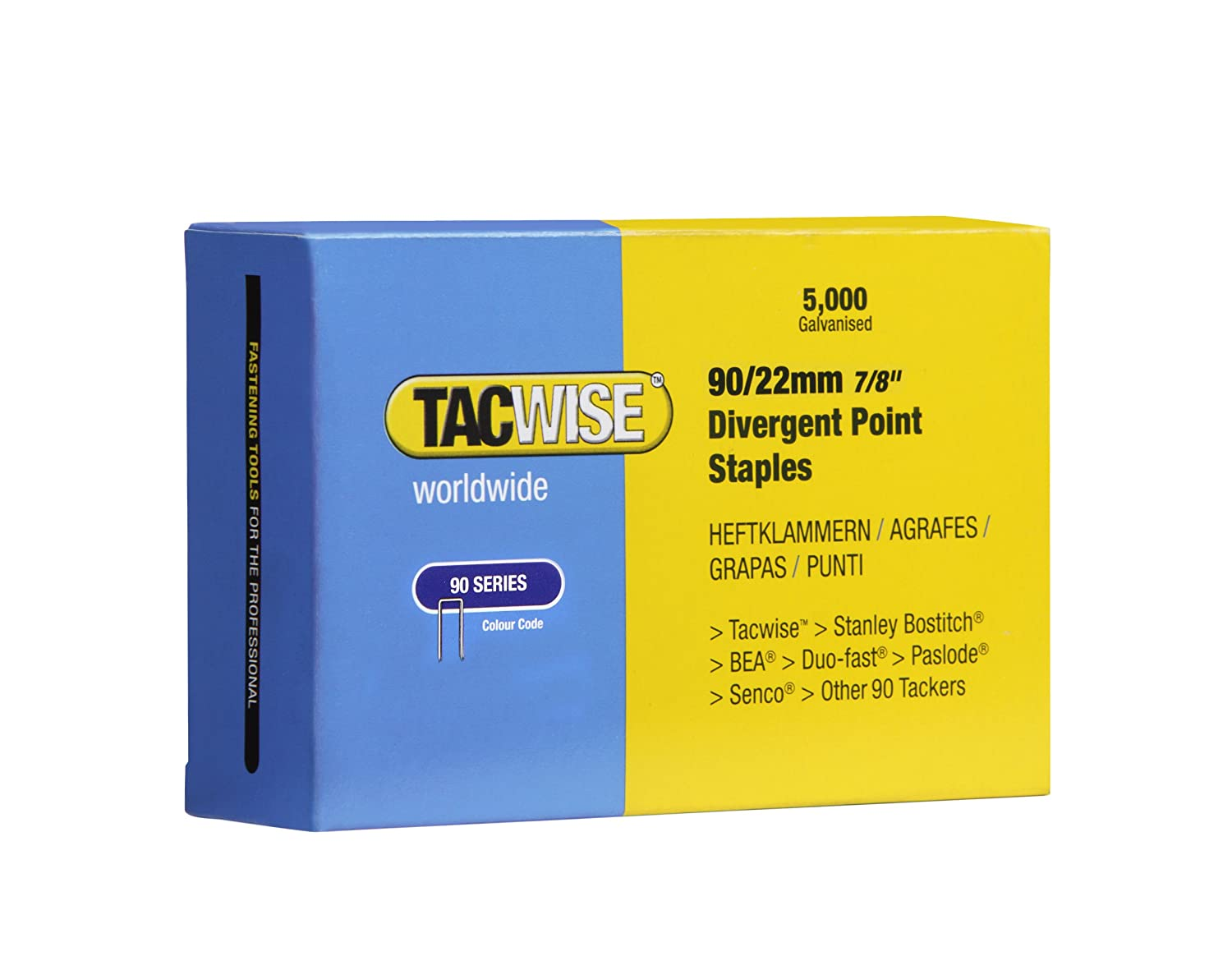 Tacwise 90/22mm Divergent Point Narrow Crown Staples (Box of 5000) 0313