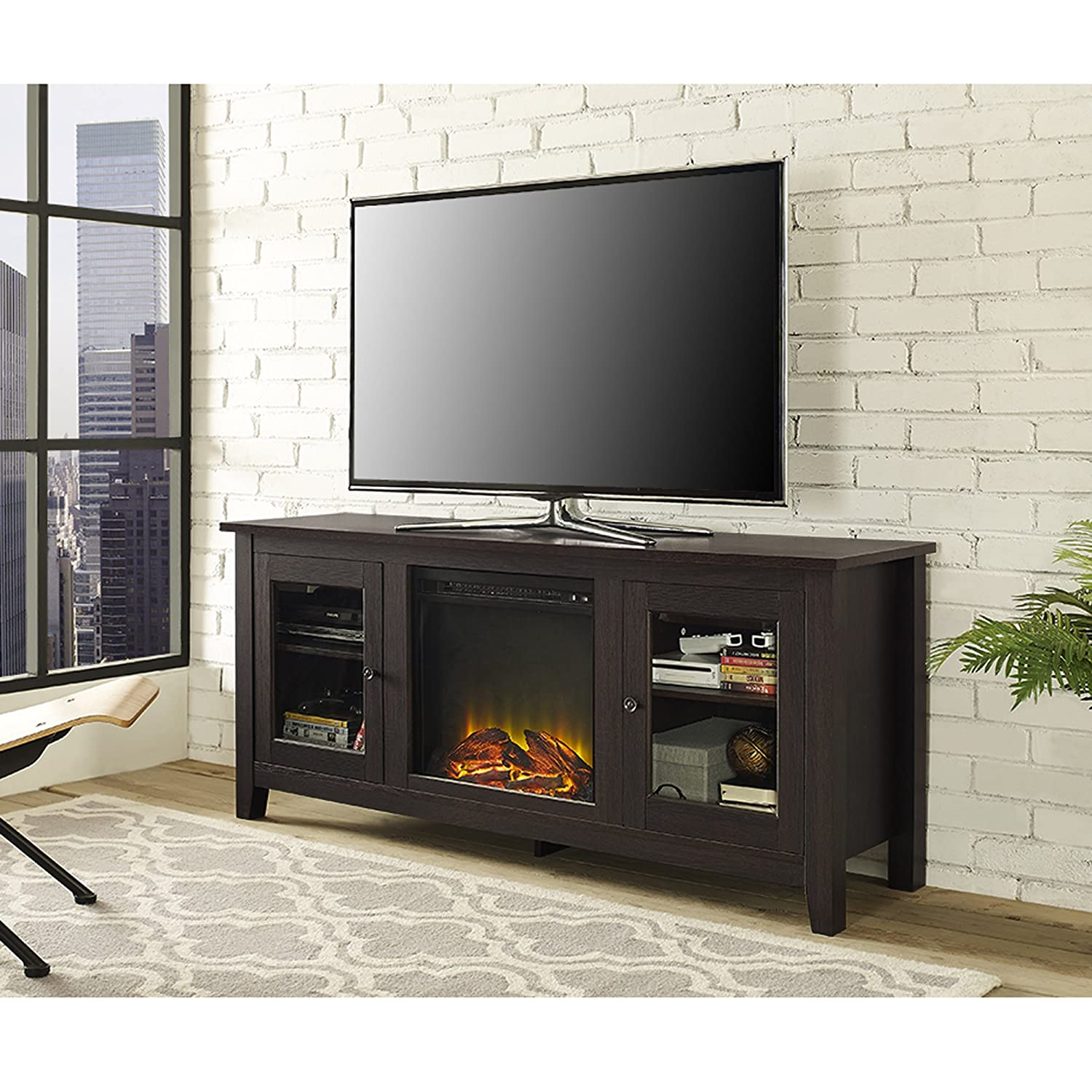 amazoncom we furniture  wood fireplace tv stand console espressokitchen  dining. amazoncom we furniture  wood fireplace tv stand console