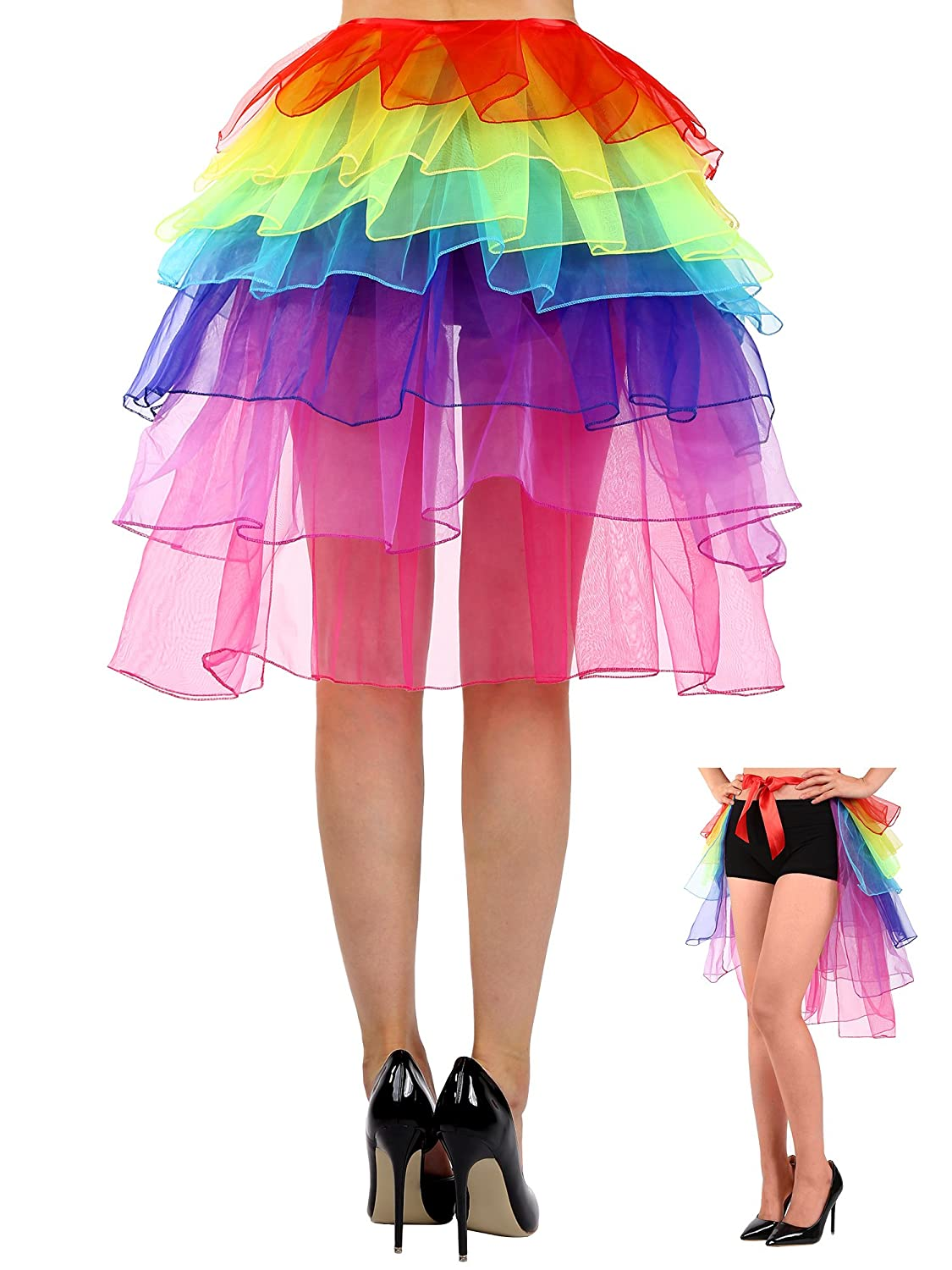Satinior Lingerie Bubble Skirt Women's Layered Tulle Dancing Bustle Skirt, Rainbow, One Size