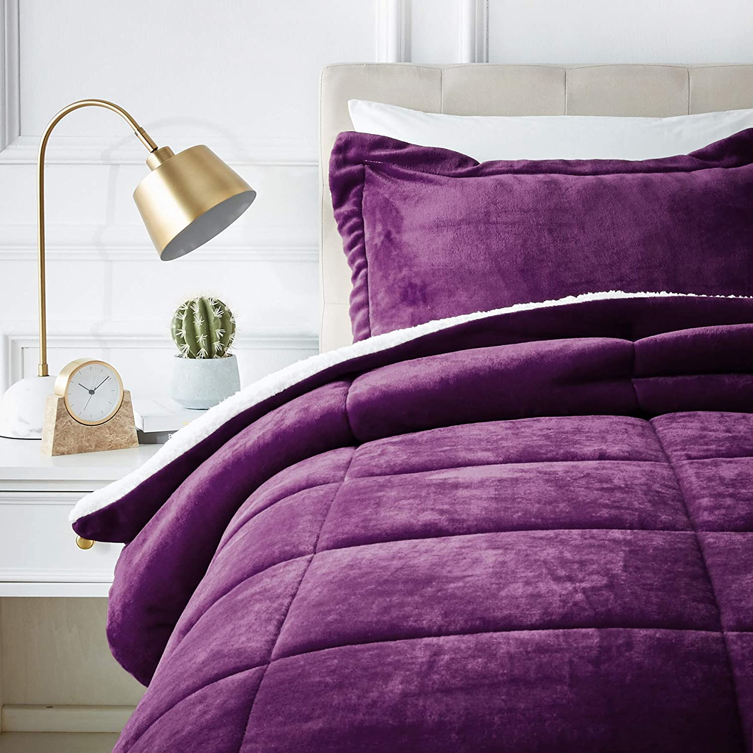 AmazonBasics Micromink Sherpa Comforter Set - Ultra-Soft, Fray-Resistant -Twin, Plum