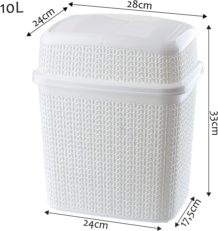 cubo interior cocina cubo de ba/ño cubo ligero con tapa oscilante Cubo de basura de pl/ástico KADAX con tapa basculante cubo de basura cubo de basura para ba/ño