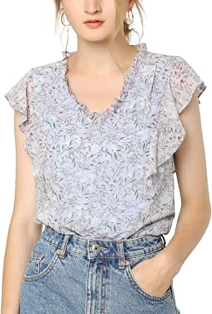 Allegra K Women's Ruffle Tops Casual V Neck Cap Sleeves Floral Blouse