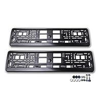 2X Kennzeichenhalter/Nummernschildhalter mit Schrauben, Scheiben und Kappen für PKW/Auto | Schwarz | Glänzend | Set: 2 Stück + Befestigung
