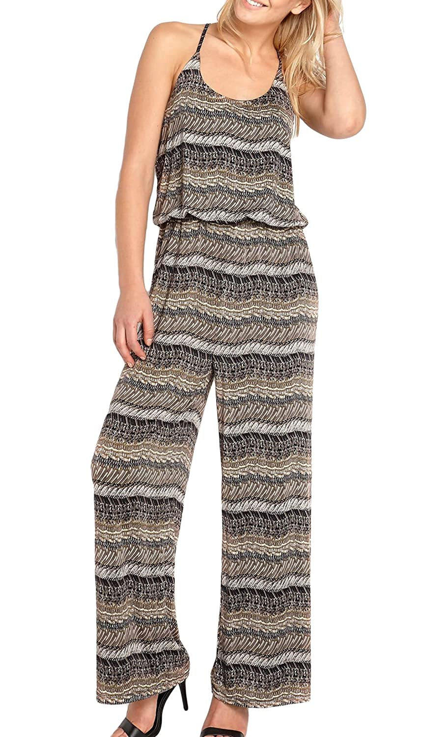 TopsandDresses Ladies Black Beige Patterned Jumpsuit in UK Sizes 6-26