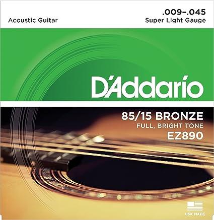 DAddario EZ890 Juego de cuerdas para guitarra acústica de bronce, 009 -