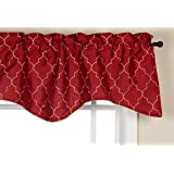Stylemaster Hudson 52 by 17-Inch Embroidered Lined Valance with Cording, Crimson
