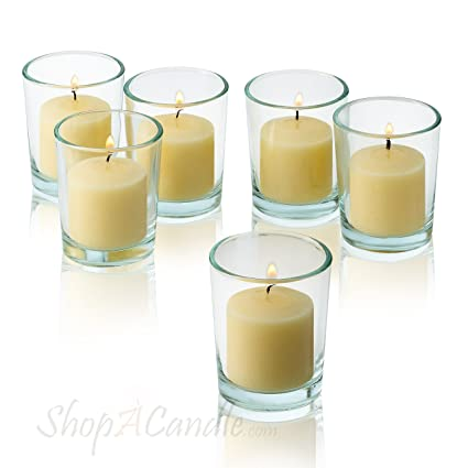 707d330bd8 Image Unavailable. Image not available for. Color: Light In The Dark Clear  Glass Round Votive Candle Holders With Ivory votive candles Burn 10