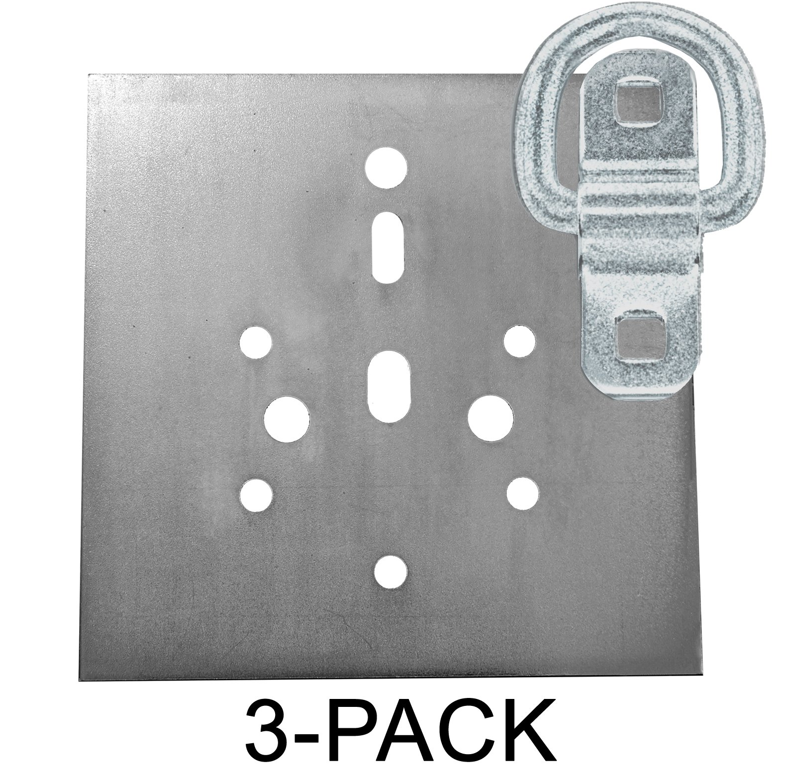 Heavy Duty USA Tiedown Anchors With Backing Plates, Surface Mount D-Ring 6,000 lb. Capacity, 3-Pack