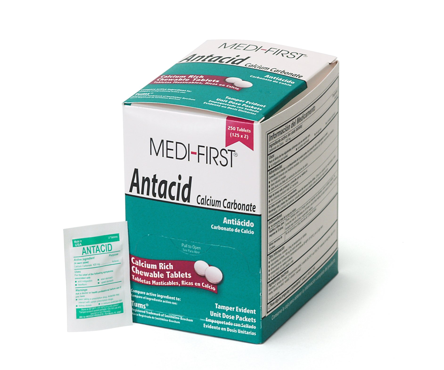 Medi-First 80248 Chewable Mint Antacid Tablets, 125-Packets of 2 by Medique/Medi-First
