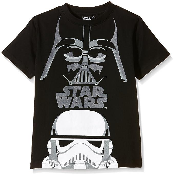 Star Wars Camiseta Manga Corta Niños, Negro, T08 años