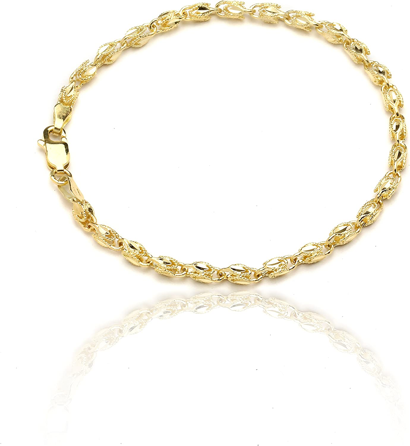 Floreo 10k Yellow Gold 2.5mm Turkish Rope Chain Bracelet and Anklet