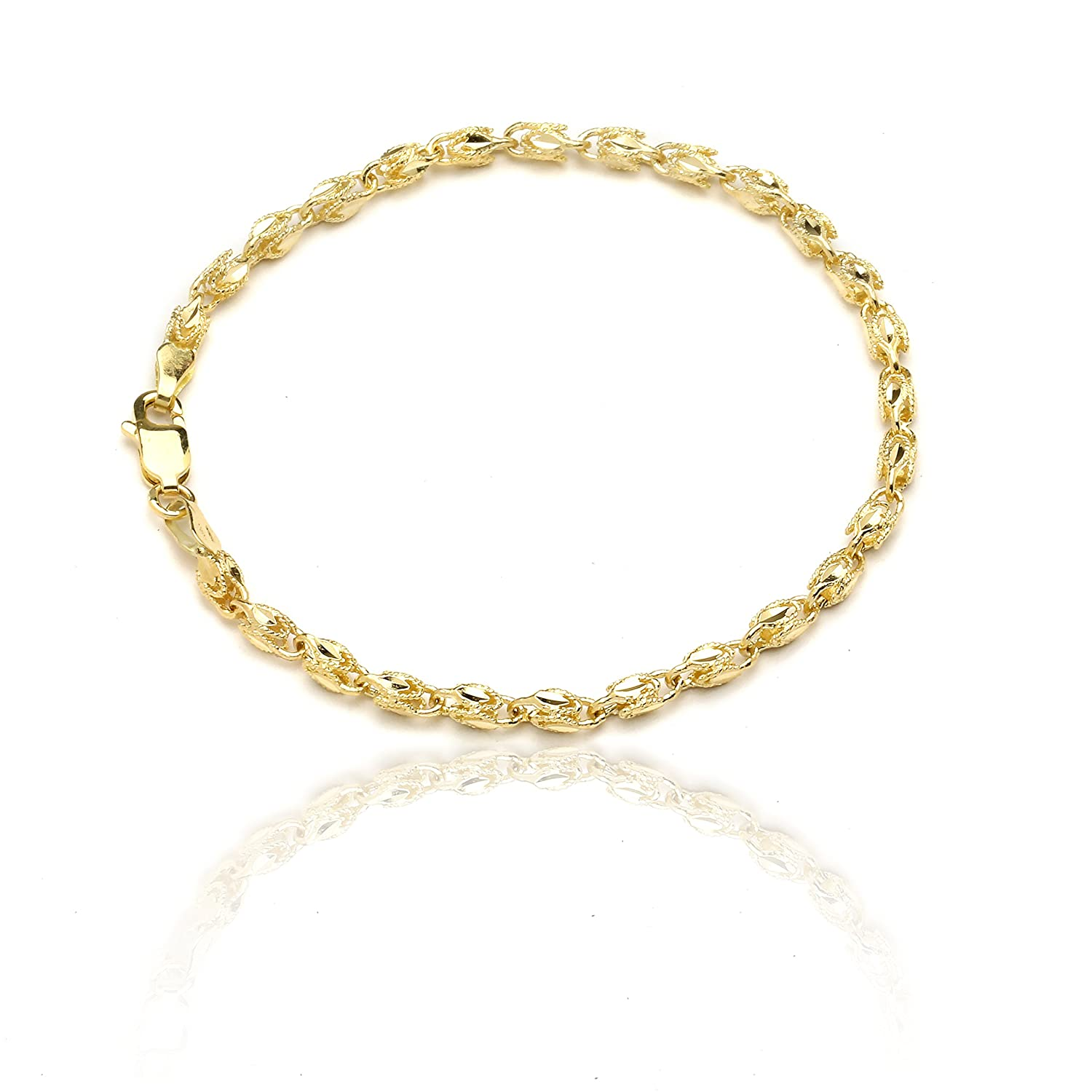 10k Yellow Gold Turkish Rope Chain Bracelet and Anklet for Women and Men, (3.5mm)