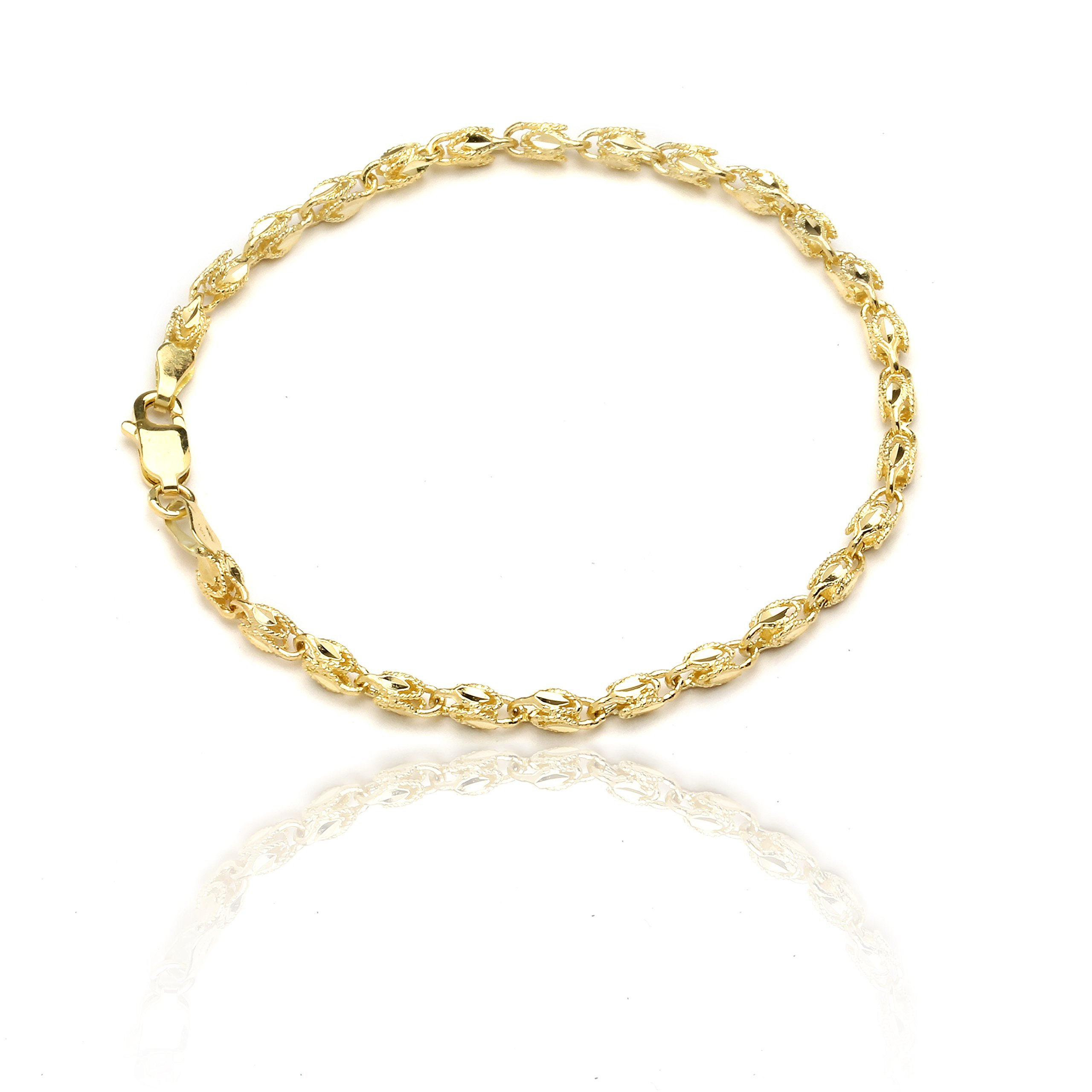 7 Inch 10k Yellow Gold Turkish Rope Chain Bracelet and Anklet for Women and Men,(3.5mm)