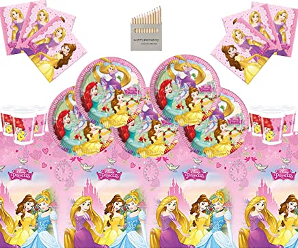 Disney Princess Party Supplies Girls Complete Birthday Party Tableware Set 16 Guests- Disney Princess Plates Cups Napkins Tablecloth