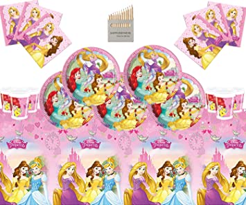 Disney Princess Party Supplies - Juego Completo de vajilla para Fiesta de cumpleaños para niñas 16 Invitados - Disney Princess Plates Copas Servilletas Mantel: Amazon.es: Juguetes y juegos