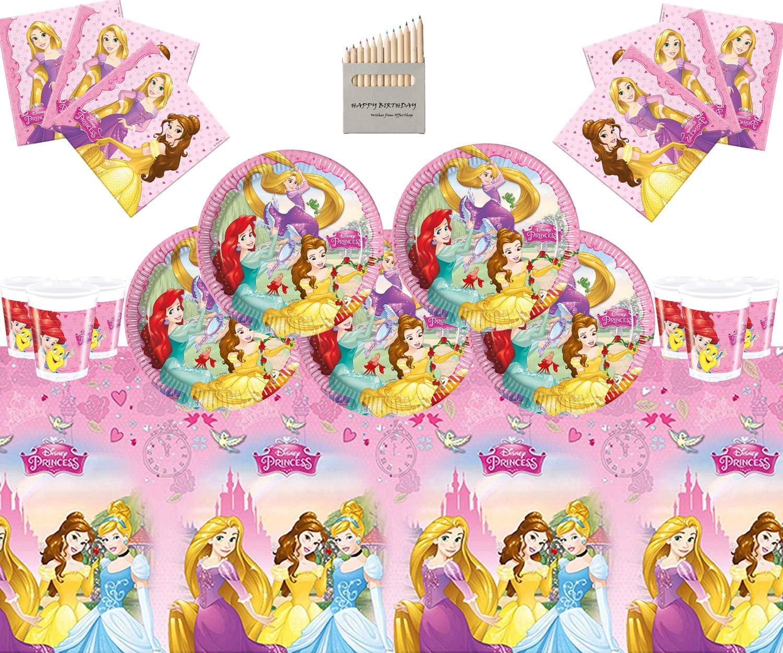Disney Princess Party Supplies Kids Girls Juego de vajilla Completa de Fiesta de cumpleaños 16 Invitados Vajilla de Papel Mantel Gratuito de Marcos de ...